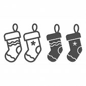Christmas Socks Line And Glyph Icon. Two Stuffer Socks Vector Illustration Isolated On White. Christ poster