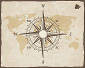 Vintage Nautical Compass. Old World Map on  Paper Texture with Torn Border Frame. Wind rose. Backgro poster
