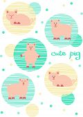 Cute Pig Vector Illustration, Drawing Of Farm Animals. Chinese Zodiac Sign Of Pig, Happy New Year201 poster
