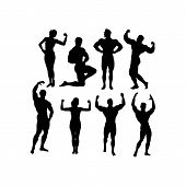 Silhouettes Of Bodybuilders And Fitness Girls - Gym Vector Icon Set Isolated On White poster