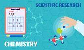 Chemistry Scientific Research Concept Banner. Flat Illustration Of Chemistry Scientific Research Con poster