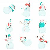 Set Of Funny And Funny Snowmen. Funny Snowmen In Different Costumes And Images. The Snowman Is The K poster
