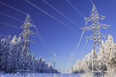 The Overhead Electric Line Over Blue Sky.  Electrical Wires Of Power Line Or Electrical Transmission poster