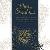 Christmas Sketch Hand Drawn Illustration With Pine Tree Branches And Cones.vector Illustration For Y poster