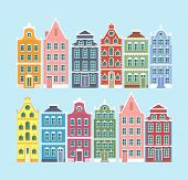 Vector Illustration Set Of European Old Style Colorful Houses Isolated On Light Blue Color Backgroun poster