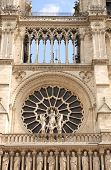 Statue of Virgin Mary on famous Cathedral of Notre Dame de Paris, Paris, France poster