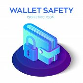 Wallet With Padlock Icon. 3d Isometric Protect Wallet Icon. Private Secure. Protect Savings, Safety, poster