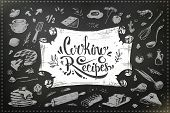 Hand Drawn Culinary Items, Food And Kitchen Utensils For Cooking. Vintage Menu Design With Calligrap poster