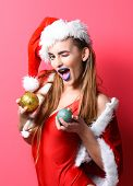 Santa Girl Christmas Party Masquerade. Celebrate Pool Party. Girl Red Swimsuit And Santa Hat Hold Ch poster