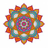 Vector Hand Drawn Doodle Mandala With Hearts. Ethnic Mandala With Colorful Ornament. Bright Colors.  poster