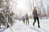 Group Of Friends Enjoying Jogging In The Snow In Winter poster