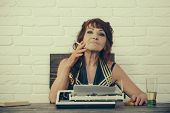 Article Idea. Old Woman Work In Writer Office. Female Reporter Or Journalist Writing On Typewriter.  poster