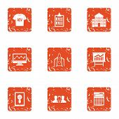 Ad Placement Icons Set. Grunge Set Of 9 Ad Placement Icons For Web Isolated On White Background poster