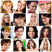 Постер, плакат: коллаж из фотографии привлекательных улыбающиеся женщины