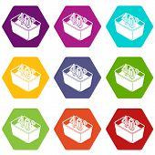 Hand Wash 40 Degrees Celsius Icons 9 Set Coloful Isolated On White For Web poster