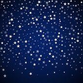 Random Falling Stars Christmas Background. Subtle Flying Snow Flakes And Stars On Dark Blue Night Ba poster