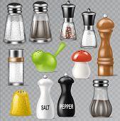 Salt Shaker Vector Design Pepper Bottle Glass Container And Wooden Kitchen Utensil Saltshaker Decor  poster