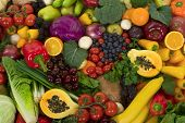 stock photo of fruits vegetables  - Organic healthy vegetables and fruits as background - JPG