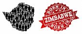 People Crowd Combination Of Black Population Map Of Zimbabwe And Scratched Stamp. Vector Red Imprint poster