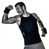 one caucasian fitness man exercising cardio boxing exercises in studio  isolated on white background poster