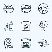 Nutrition Icons Line Style Set With Donut, Rice Bowl, Restaurant Pin And Other Healthy Food Elements poster