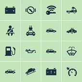 Auto Icons Set With Seat Belt Not On, Cruise Control On, Stop And Other Press Brake Pedal Elements.  poster