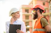 Purchase Of Building Materials. Construction Industry. Successful Deal Concept. Foreman Established  poster