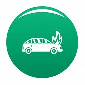 Burning Car Icon. Simple Illustration Of Burning Car Vector Icon For Any Design Green poster