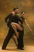 The Young Dance Ballroom Couple In Gold Dress Dancing In Sensual Pose On Studio Background. Professi poster
