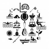Summertime Icons Set. Simple Set Of 25 Summertime Vector Icons For Web Isolated On White Background poster
