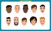 Group Of People, Business Bearded Men Avatar Icons.flat Design People Characters.business Avatars Se poster