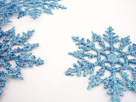 picture of winter trees  - blue glittery snowflakes - JPG