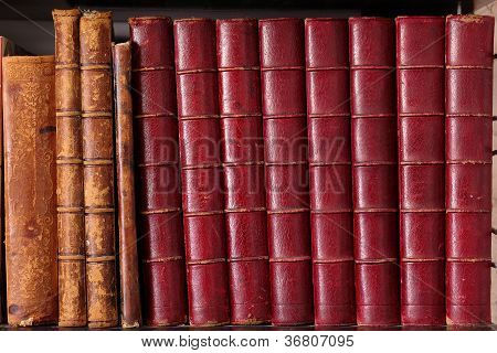 Row of old leather hardbound