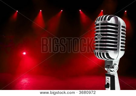 Microphone On Colorful Background