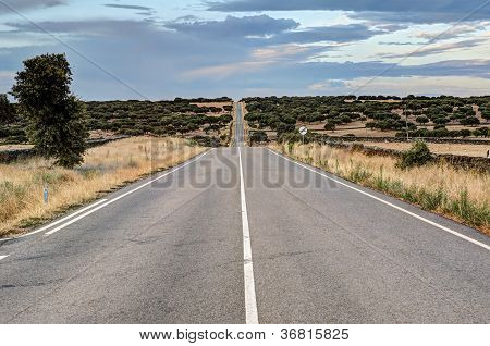 endless highway in Castilla-Leon, Spain