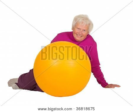 Healthy Retired Woman With Gym Ball