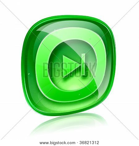 Rewind Forward Icon Green Glass, Isolated On White Background.