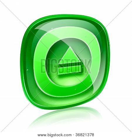 Eject Icon Green Glass, Isolated On White Background.