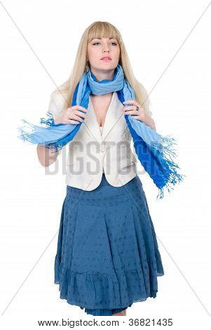 Beautiful Blonde With A Fluttering Blue Scarf
