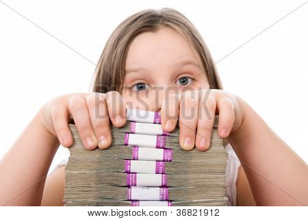 Beautiful Girl And Pile Of Money