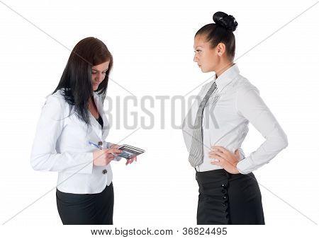 Boss and secretary communicating