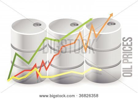 oil barrels - oil prices illustration design over white