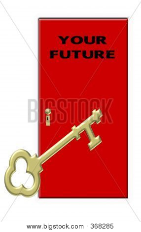 Key To Your Future - Gold Gey And Red Door