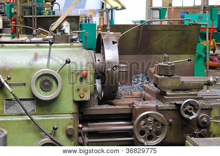 Old Lathe In Workshop Of The Plant