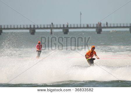 Brisbane, Australia - September 15 : Unidentified Competitor In Australian Water Ski Racing Champion