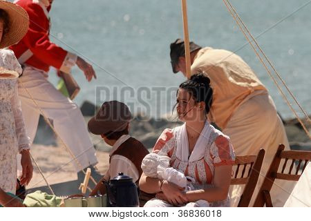 Brisbane, Australia - September 16 : Unidentified People Re-enacting Beach Settlement Camp Life As P