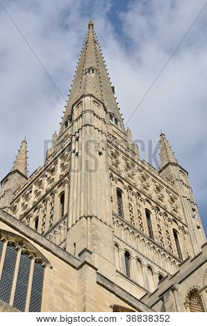 Close up of Norwich Cathedral spire