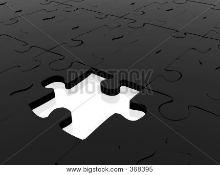 Blue Puzzle Piece Missing On White
