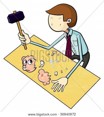 White-collar Worker and His Piggy Bank