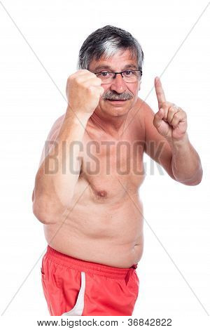 Angry Shirtless Senior Man